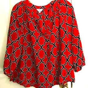 Crown & Ivy 3/4 length blouse (1x)